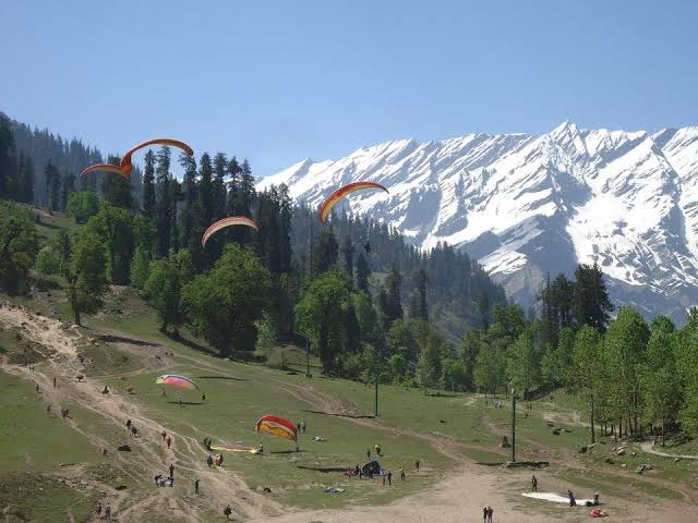 Image result for Snow covered Mountains of Manali""