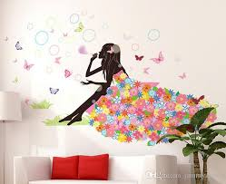Flower Girl Butterfly Home Decal Fairies Wall Stickers Bedroom Sofa Background Decor Girls Lady Room Window Diy Art Nursery Decals Nursery Room Wall Decals From Jammyzhang 7 54 Dhgate Com
