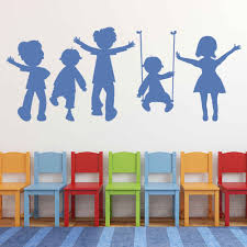 Children Playing Wall Sticker School Classroom Playground Art Mural Decor Glass Vinyl Decals Kids Bedroom Nursery Decal Q037 Wall Stickers Aliexpress