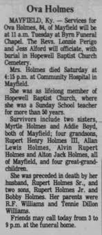 Obituary for Ova Holmes (Aged 84) - Newspapers.com