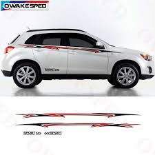 Racing Sport Stripes Car Body Waist Lines Sticker For Mitsubishi Asx Outlander 2011 2019 Sport Styling Auto Body Vinyl Decals Car Stickers Aliexpress
