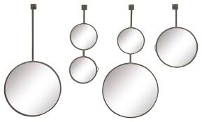 modern iron and wood round hanging wall