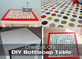 diy bottlecap table on the