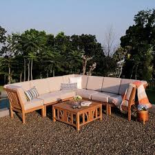 bali teak 8 piece patio sofa sectional