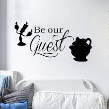 Cartoon Quotes Be Our Guest Wall Decal Beauty And The Beast Wall Stickers For Kids Rooms Playing Room Baby Gift Vinyl Diy Syy972 Sticker For Kids Room Wall Stickers For Kidswall Sticker Aliexpress
