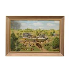 Lot-Art   Original Ray Becker Oil Painting Re-imagining the Story of Noah's  Ark