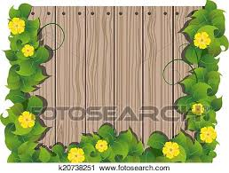 Yellow Flowers And Wooden Fence Clipart K20738251 Fotosearch