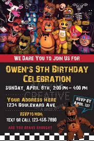 4x6 Or 5x7 Fnaf Birthday Invitation Five Nights At Freddy S