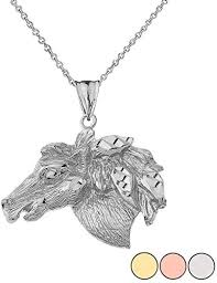 unique 14k white gold sparkle cut horse