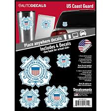 Amazon Com Officially Licensed U S Coast Guard Decals 4 Piece Us Military Stickers For Truck Or Car Windows Phones Tablets Laptops Large Military Decals 1 75 To 4 Inches Car