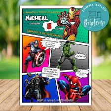 Invitacion De Fiesta De Cumpleanos Comica De Calling All Avengers