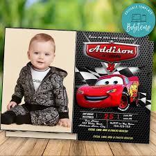 Invitacion De Cumpleanos Editable De Disney Cars 3 Con Foto