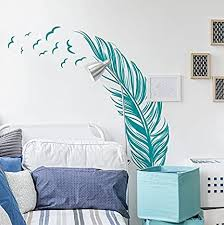Amazon Com Feather With Birds Wall Decal 20 X 40 Black Home Kitchen