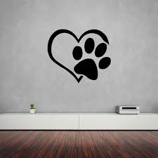 Heart Dog Paw Vinyl Decal The Decal Bros