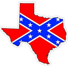 Texas Confederate Rebel Flag State Outline Sticker At Sticker Shoppe