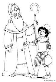 Sinterklaas En Piet Die Snoepgoed Strooit Kleurplaat