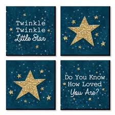Twinkle Twinkle Little Star Kids Room Nursery Decor And Home Decor 11 X 11 Inches Nursery Wall Art Set Of 4 Prints For Baby S Room Walmart Com Walmart Com