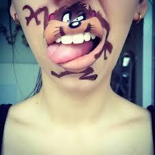 makeup artist turns lips into cute