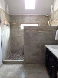 walk in shower with half wall pony wall