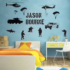 Soldier Army Battlefield Millitary With Name Wall Sticker