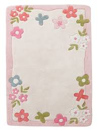 Beautiful Pink Rug With Flowers For The Kids Room