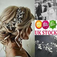 pearls wedding hair vine bridal crystal