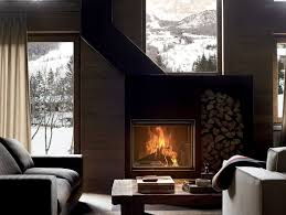 wood burning built in fireplace with