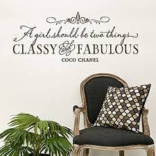 Amazon Com A Girl Should Be Two Things Classy And Fabulous Wall Decals Coco Chanel Quote Wall Decal Girls Room Wall Art Wall Quote For Girls Home Kitchen