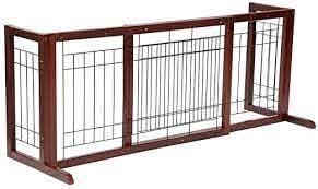 Amazon Com Topeakmart Adjustable Indoor Pet Fence Gate Free Standing Dog Gate Solid Wood Construction Pet Supplies