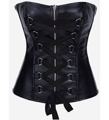 black lace up leather corset top bc1663