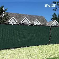 Amazon Com Sunnykud Fence Privacy Screen 6 X25 Heavy Duty Fencing Mesh Shade Net Cover For Outdoor Yard Garden Dark Green Garden Outdoor