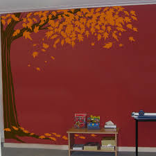 Shady Corner Tree With Leaves Falling Wall Decals