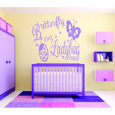Custom Wall Decal Butterfly Kisses Ladybug Hugs Baby Girl Bedroom 16x24 Walmart Com Walmart Com