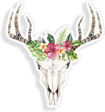 Amazon Com Bohemian Boho Cow Skull Antler Flower Taurus Sticker Cup Laptop Car Bouquet Vinyl Decal Window Bumper Wall Graphic Arts Crafts Sewing