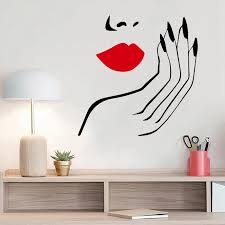 Sexy Woman Wall Sticker Beauty Salon Decal Sexy Red Lips Decals Living Room Decor Girls Room Decoration Personailzed Nails Mural Wall Stickers Aliexpress