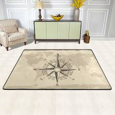 Antique Compass World Map Area Rugs 5x7 Colorful Modern Area Rug For Living Room Bedroom Machine Washable Nursery Rug Baby Nursery