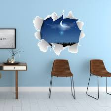 3d Art Wall Decal Murals For Kids Bedroom Ceiling Nursery Room Wall Stickers Broken Hole Wall Decor Stickers Diy Self Adhesive Wall Stickers Aliexpress