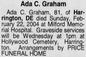 Ada (Brown) Coulbourn-Graham's obituary. - Newspapers.com