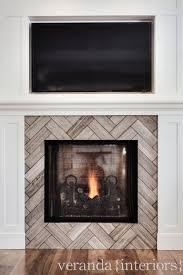herringbone tile pattern on fireplace