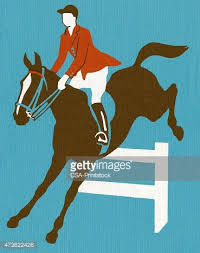 Horse And Rider Jumping Over Fence Clipart Image