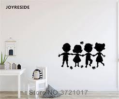 Joyreside Cute Little Kids Silhouettes Holding Hands Wall Design Decal Vinyl Sticker Decor Girl Boy Bedroom Play Room Mural A406 Wall Stickers Aliexpress