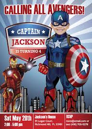 Captain America Birthday Invitation Captain America Party Ideas