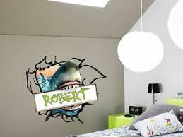 Great White Shark Jaws Wall Decal With Custom Name Boys Bedroom Decor Sharks Ebay
