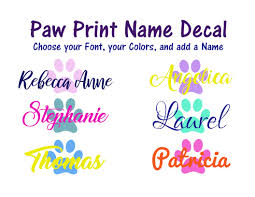 Amazon Com Paw Print Name Decal Choose Colors Font Size For Wine Glasses Tumblers Water Bottle Add A Name Other Sizes Glitter Vinyl Metallic Vinyl Print And Solid Handmade