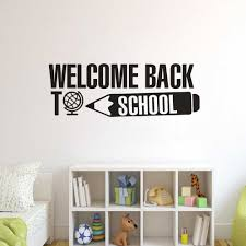 Welcome Back To School Lettering Wall Sticker School Congratulations Banner Vinyl Decals Education Quote Classroom Decor Az326 Wall Stickers Aliexpress