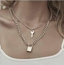 fashion key padlock pendant necklace