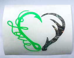 Amazon Com Hunting Fishing Decal Fish Love Hook Deer Antler Heart Vinyl Sticker For Trucks Yeti Cups Tumblers Camo And Lime Green 3 Inches Handmade