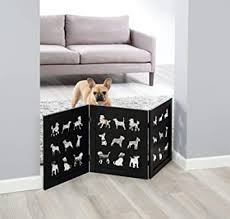 Amazon Com Zoogamo 3 Panel Black Wooden Dog Silhouette Pet Gate 19 Inches Tall Expands Up To 48 Freestanding Tri Fold Durable Wooden Dog Fence Indoor Outdoor Pet Barrier For Stairs Doorways Baby