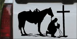 Cowboy And Horse Praying At Cross Car Or Truck Window Decal Sticker Or Wall Art All Time Auto Graphics