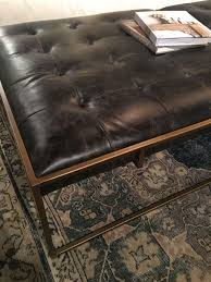 square tufted leather coffee table